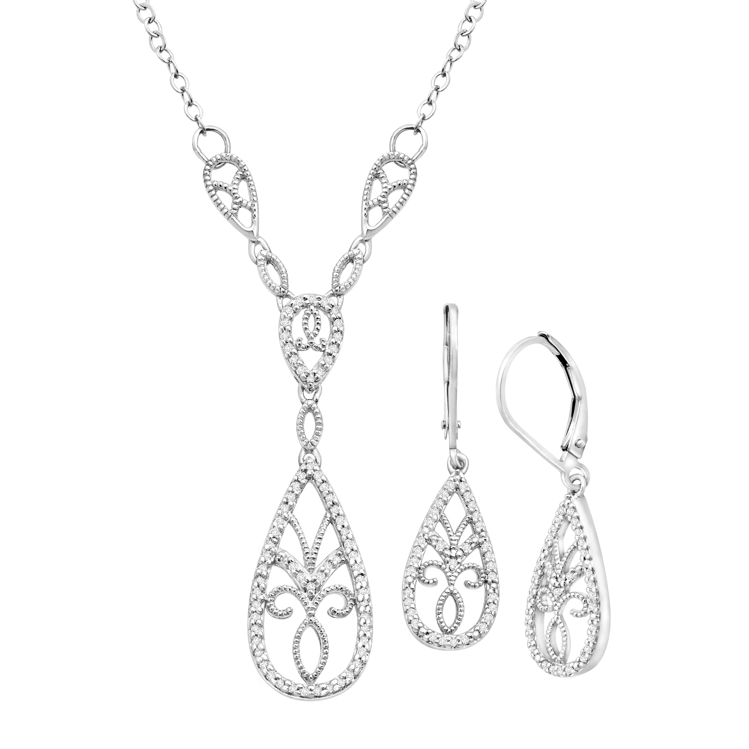 1 3 ct Diamond Necklace & Earring Set in Sterling Silver by Richline Group