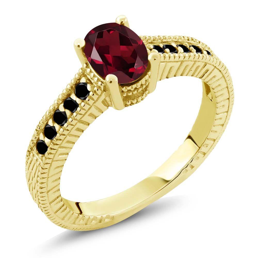 1.23 Ct Red Rhodolite Garnet Black Diamond 18K Yellow Gold Plated Silver Ring by