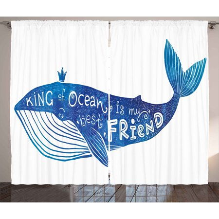 Whale Curtains 2 Panels Set, Kind of Ocean is My Best Friend Quote with Whale Fish Paintbrush Artsy Picture, Window Drapes for Living Room Bedroom, 108W X 84L Inches, Violet Blue White, by