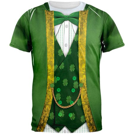 St. Patricks Day Leprechaun Costume All Over Adult T-Shirt - St Patricks Day Tshirt
