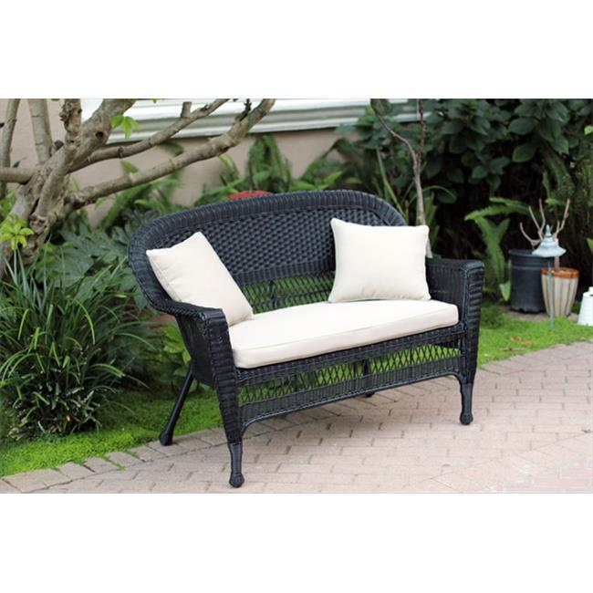 Jeco W00207-L-FS006-CL Black Wicker Patio Love Seat With Tan Cushion And Pillows