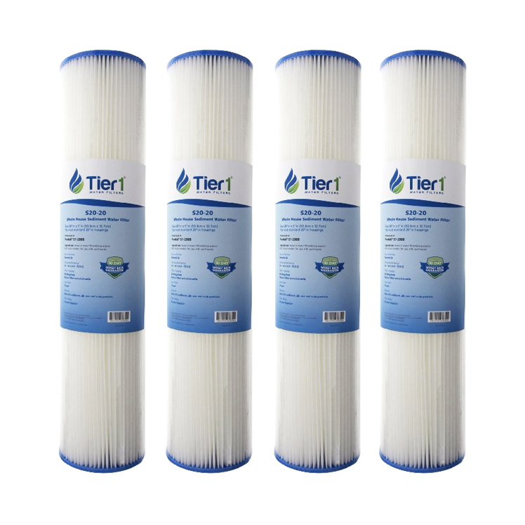 Tier1 Replacement for Pentek S1-20BB 20 Micron 20 x 4.5 Pleated Cellulose Sediment Water Filter 4 Pack - Not for Well Water