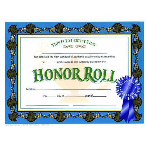 """Hayes Honor Roll Certificate, 8.5"""" x 11"""", Pack of 30"""