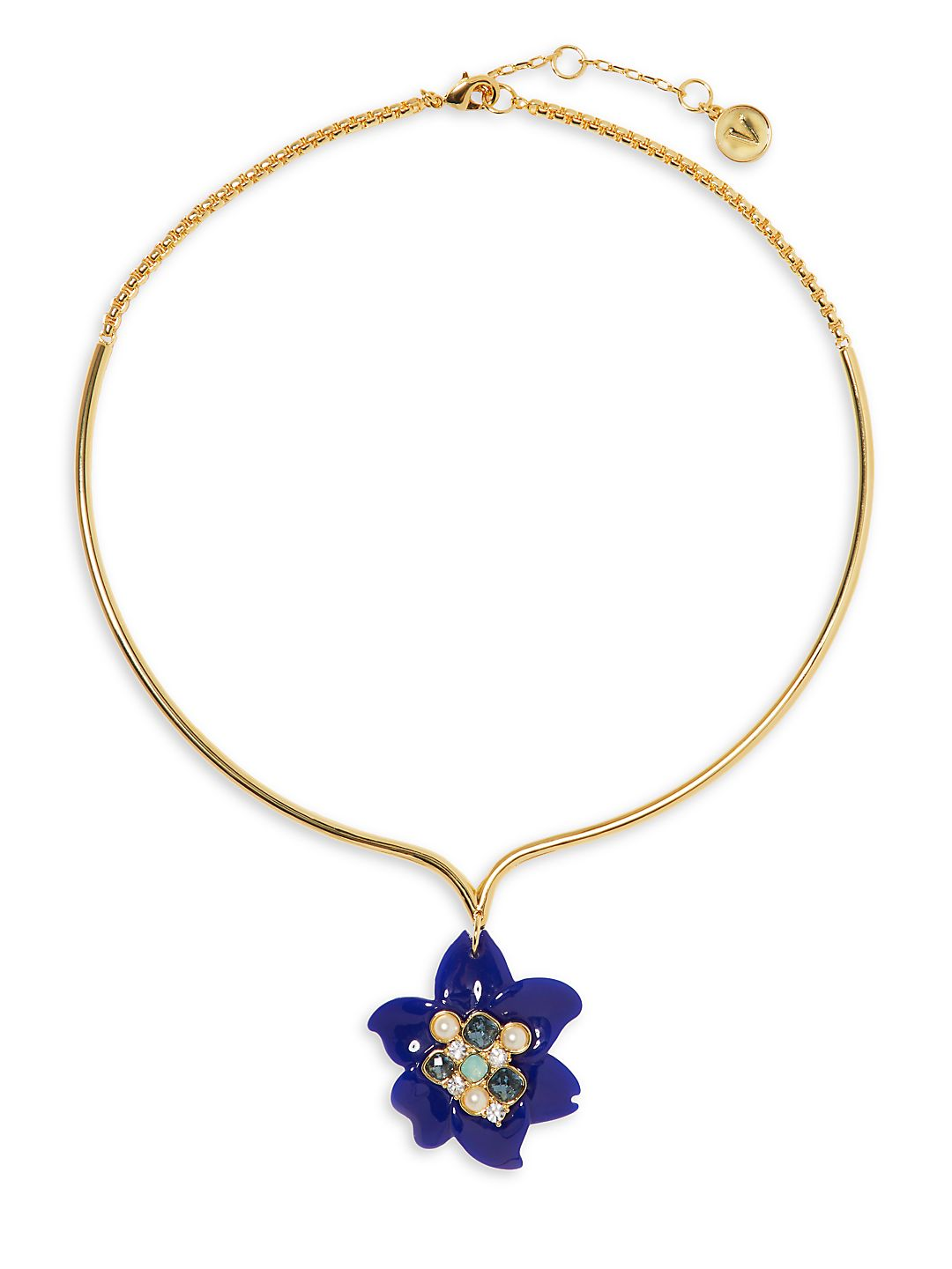Goldtone and Glass Stone Flower Collar Necklace