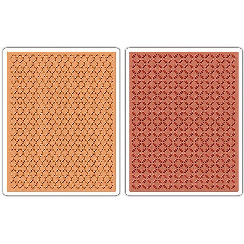 Sizzix Texture Fades A2 Embossing Folders, 2pk, Courtyard and Trellis By Tim Holtz