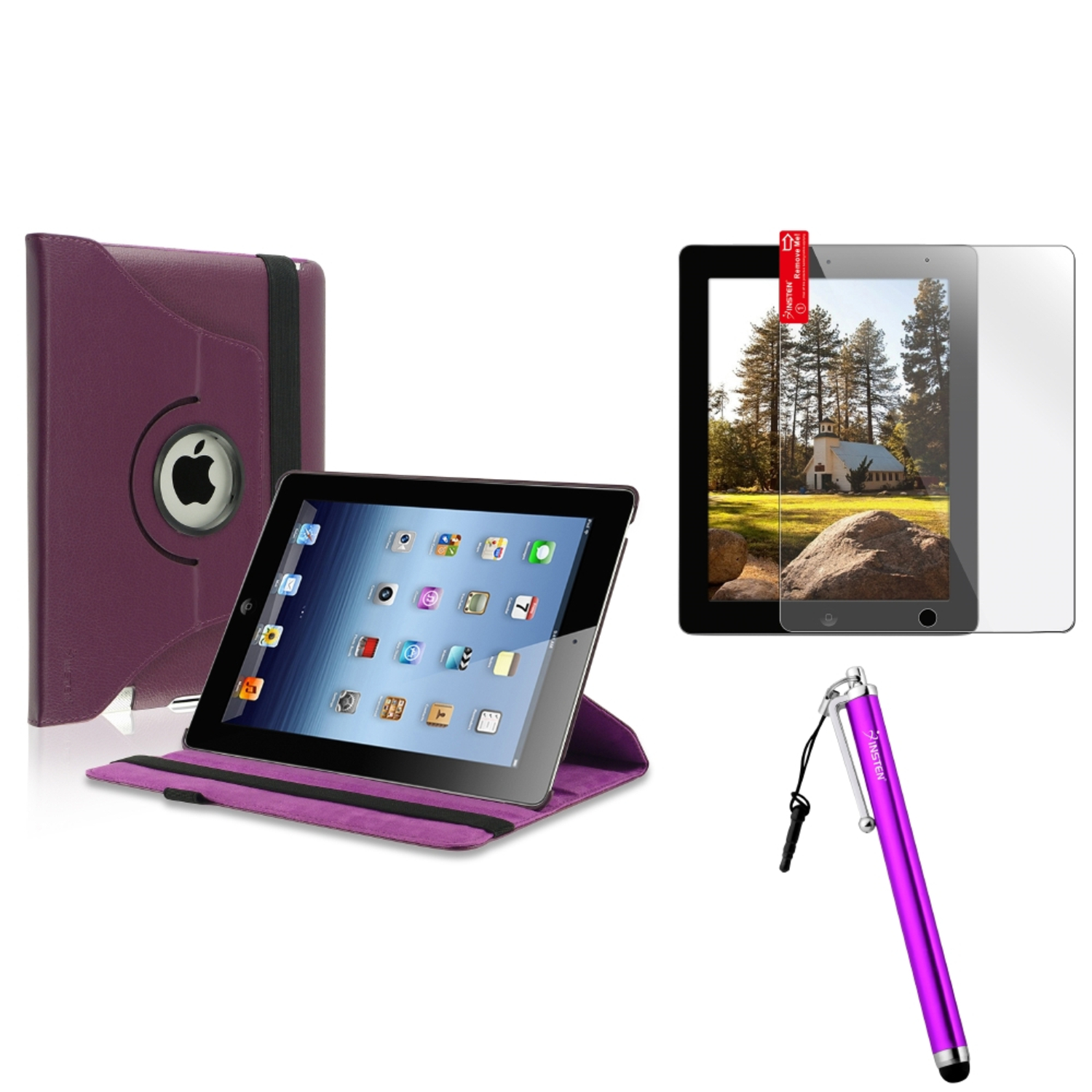 Insten For Apple iPad 4 4th 3 3rd 2 2nd 360 Rotating Leather Case Cover Swivel Stand Purple