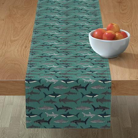 Image of Table Runner Shark Sharks Men Boys Ocean Cotton Sateen