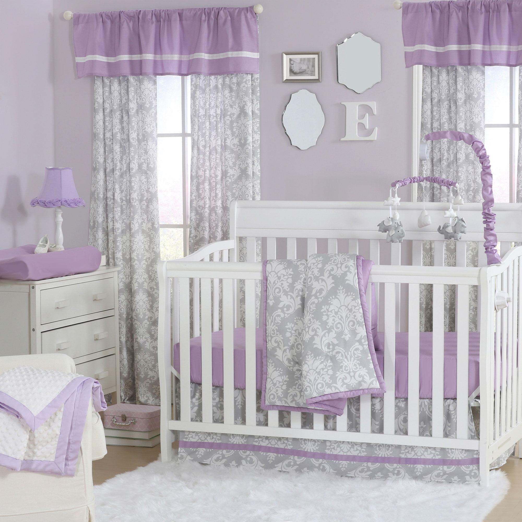 Damsel Damask Purple and Grey Baby Girl Crib Bedding - 11 Piece Sleep Essentials Set