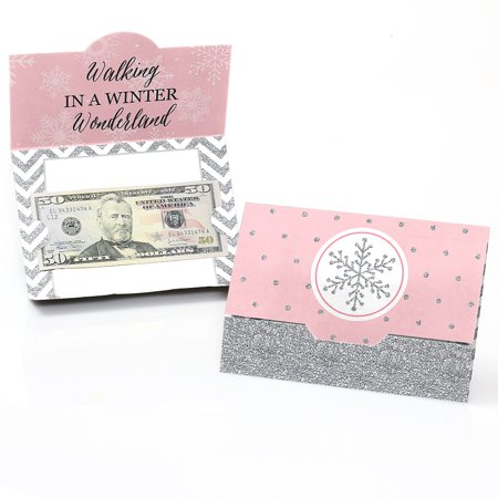 Birthday Monkey Gift - Pink Winter Wonderland - Holiday Snowflake Birthday Party or Baby Shower Money And Gift Card Holders - Set of 8