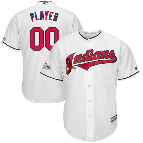 Men's Majestic White Cleveland Indians 2017 Postseason Cool Base Custom Jersey