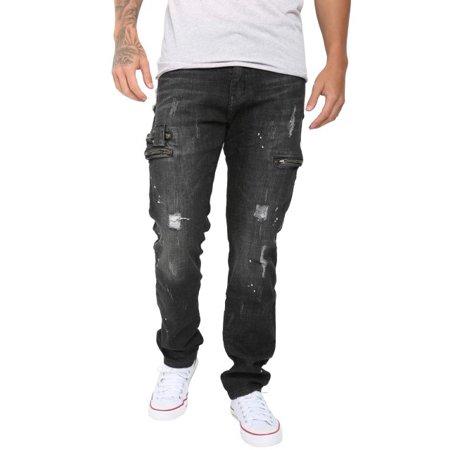 Mens Biker Bottom Jeans with Destroyed Broken Zip (Zip Bottom)