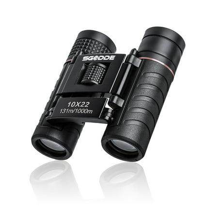 10x22 Binoculars, SGODDE Mini Pocket Binoculars Folding Multi-Coated Small Waterproof Telescope with Bag for kids Adults Sightseeing Hunting Wildlife Watching Sporting Events - Sporting Event Noisemakers