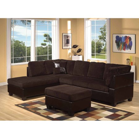 Fantastic Acme Connell Collection Corduroy And Faux Leather Sectional Sofa Chocolate Espresso Box 1 Of 2 Creativecarmelina Interior Chair Design Creativecarmelinacom