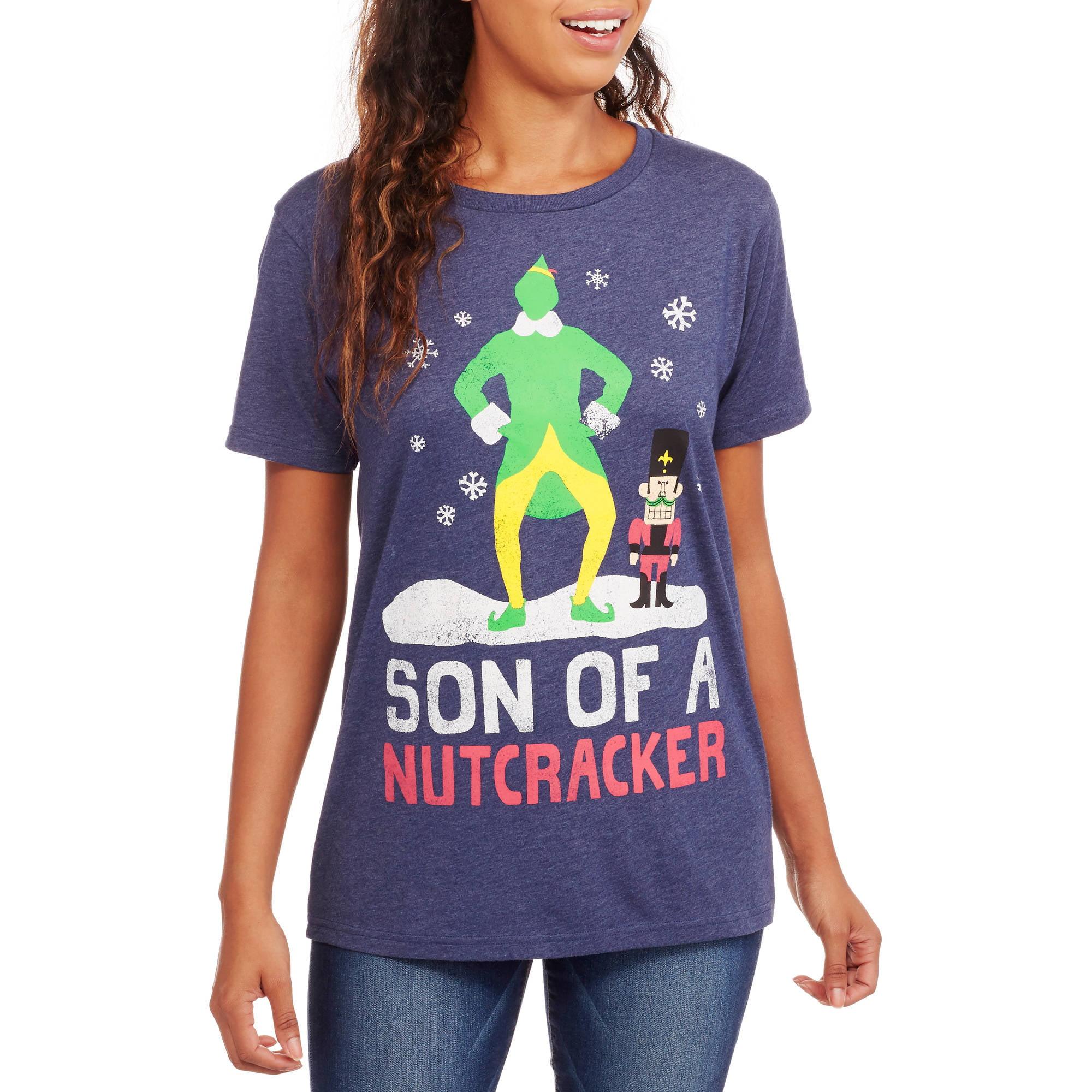 "Juniors' ""Son of a Nutcracker"" Christmas Boyfriend Tee"