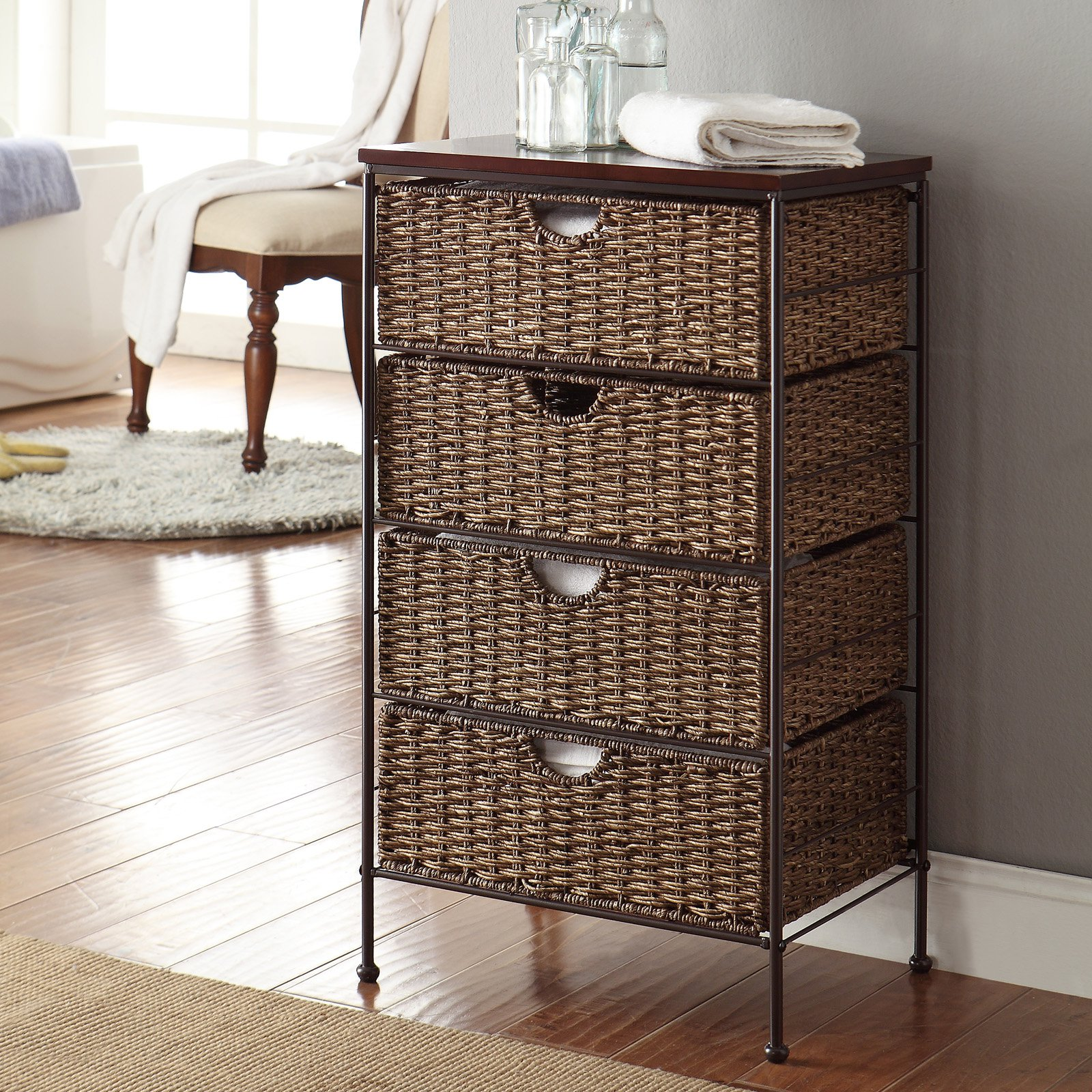 4D Concepts Farmington Wood-Top Maize Weave 4 Drawer Chest by 4D Concepts