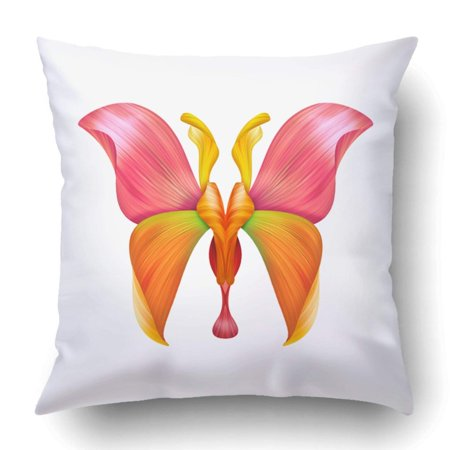BPBOP Colorful Flower Abstract Petal Butterfly White Floral Design Orange Clipart Pillowcase Cover Cushion 18x18 inch