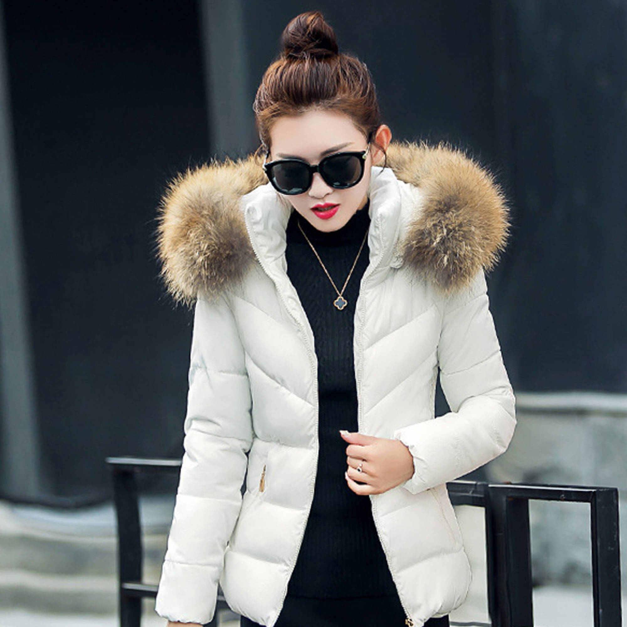 Women's Parkas Faux Fur Hooded Solid Short Outwear Thicken Winter Coat Overcoat Down... by Dosmart