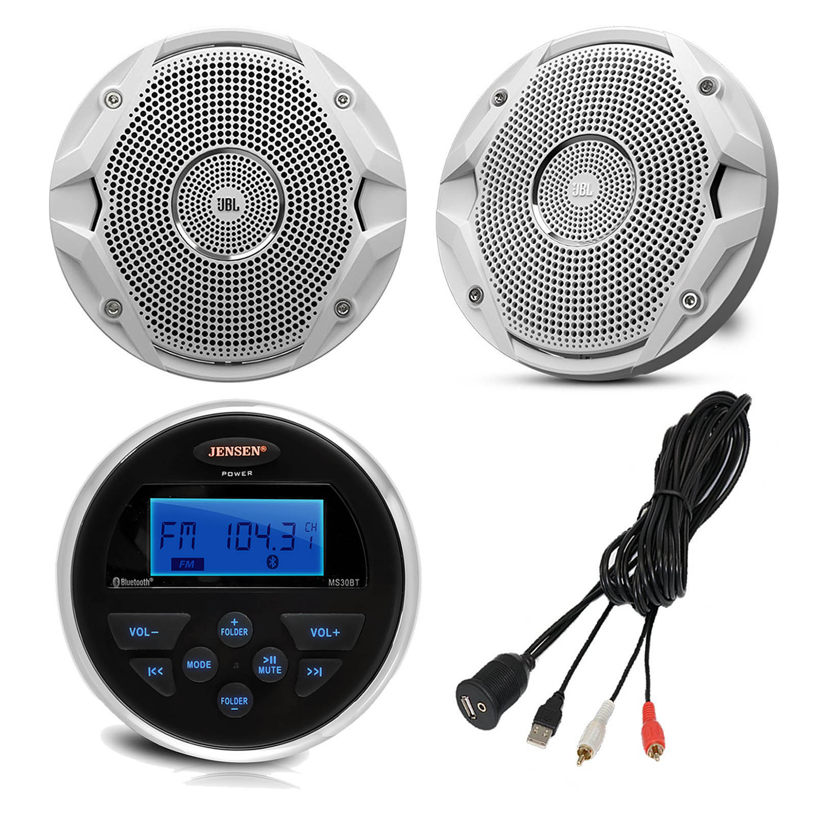 "Jensen MS30BTR Gauge Style Marine Yacht ATV Motorcycle Waterproof Stereo Bundle Combo With 2x JBL MS6510 6.5"" Inch Boat Speakers + Enrock Universal USB / AUX To RCA 10"" Extension Cable"