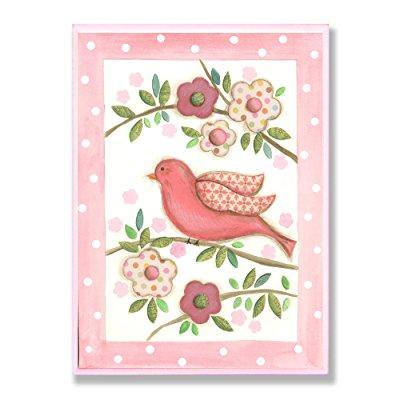 the kids room by stupell pink bird on a branch with patchwork flowers rectangle wall plaque
