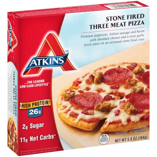 Atkins Stone Fired Three Meat Pizza Frozen Meal, 5.8 oz