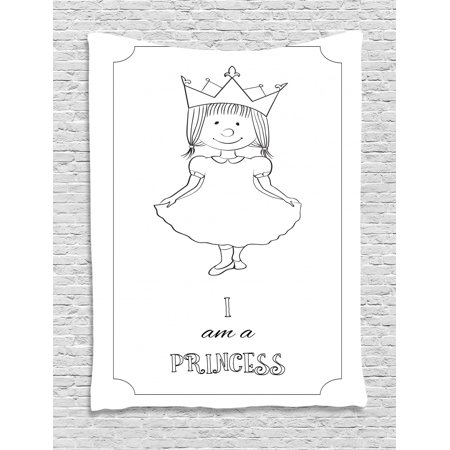 I Am A Princess Tapestry Kids Cartoon Cute Little Girl