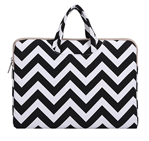 Mosiso Laptop Briefcase, Canvas Fabric Sleeve Carrying Case Handbag for 15-15.6 Inch Laptop / Notebook Computer / MacBook Air / MacBook Pro (Internal Dimensions: 15.16 x 0.79 x 10.63 inches), Chevron