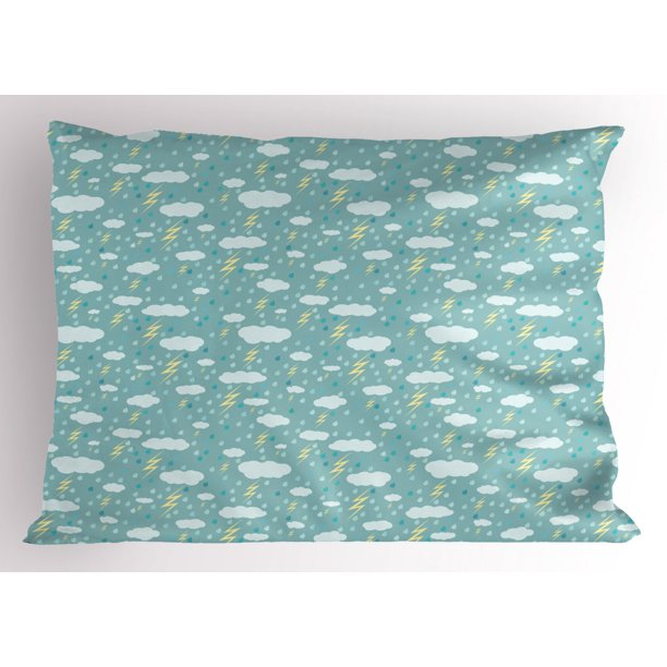 Rain Pillow Sham Bad Weather With Thunderstorm And Raining Clouds Seasonal Pastel Graphic Decorative Standard Queen Size Printed Pillowcase 30 X 20 Inches Seafoam And Pale Yellow By Ambesonne Walmart Com Walmart Com