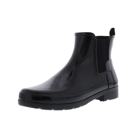 Hunter Women's Original Refined Chelsea Gloss Black High-Top Rubber Rain Boot -