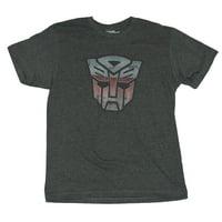 Transformers Mens T-Shirt -  Classic Autobot Logo Heavily Distressed 2 Tone Logo