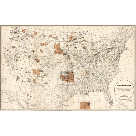 Map Reservations 1888 Nindian Reservations Within The United States And Territories Lithograph 1888 Rolled Canvas Art     24 X 36