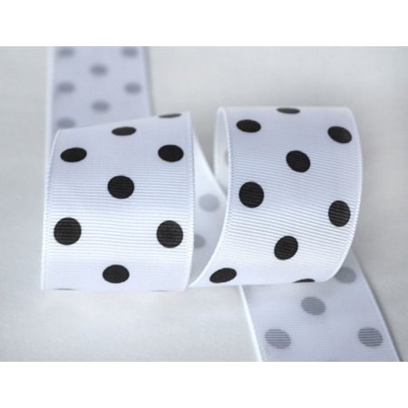 Ribbon Bazaar Grosgrain Polka Dots 7/8 inch White 25 yards 100% Polyester Ribbon](White Polka Dots)