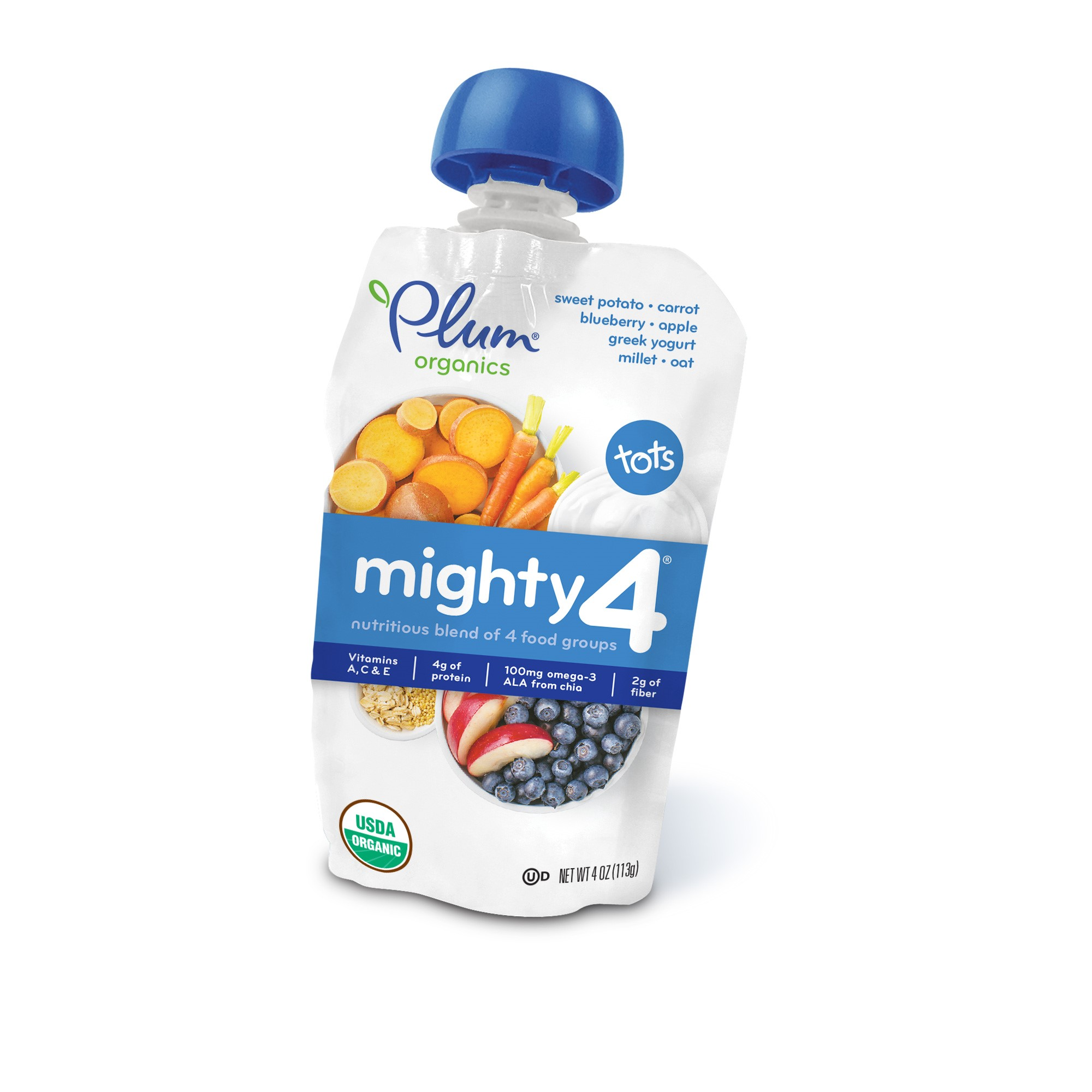 Plum Organics Tots Mighty 4 Sweet Potato, Blueberry, Millet & Greek Yogurt Essential Nutrition Blend, 4 oz, (Pack of 6)