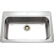 Houzer PGS-3122-4-1 Premiere Gourmet Series Topmount Stainless Steel 4-Hole Large Single Bowl Kitchen Sink
