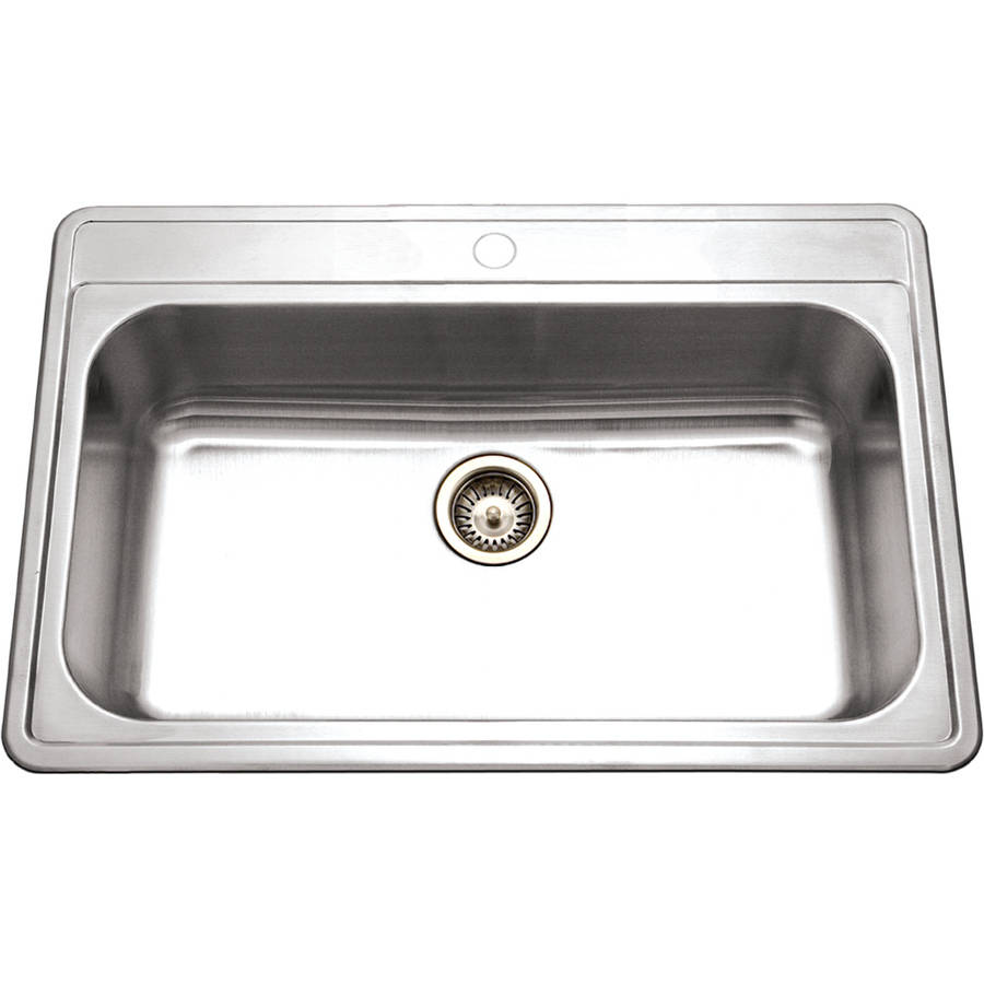 Top Mount Stainless Steel Kitchen Sinks houzer pgs-3122-1-1 premiere gourmet series topmount stainless