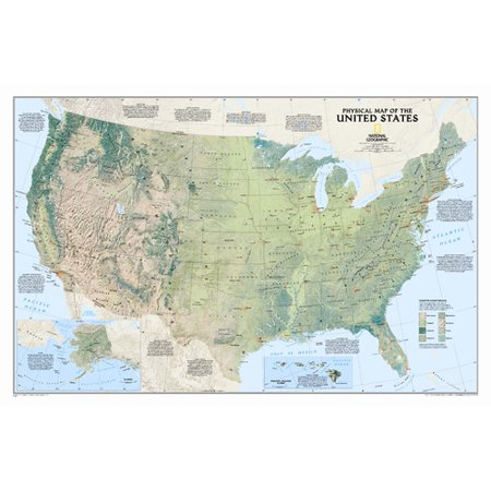 National Geographic Maps United States Physical Wall Map