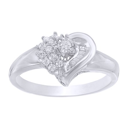 661c7beaa68eab Jewel Zone US - Baguette & Round Natural Diamond Heart Promise Ring in 10k  White Gold - Walmart.com