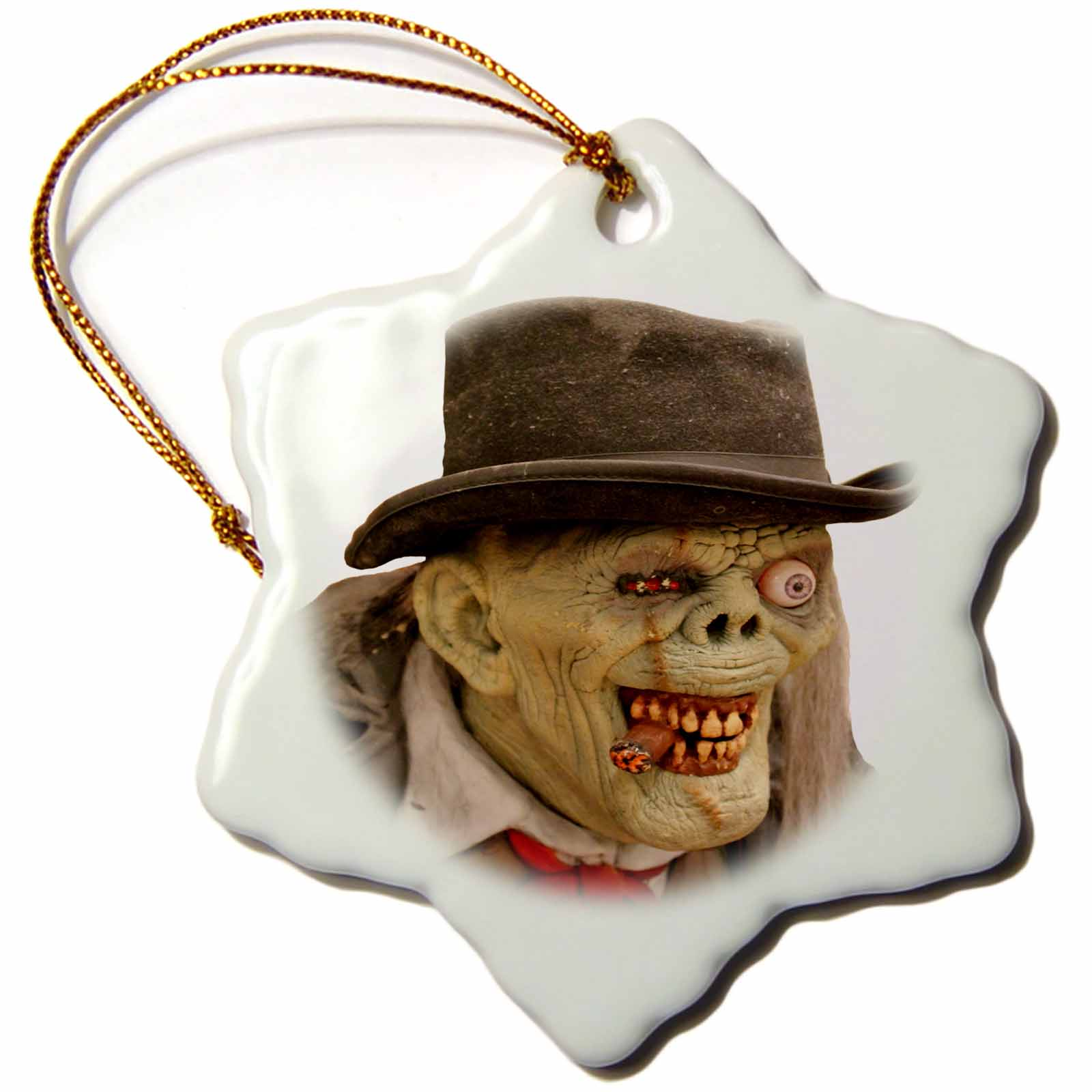 3dRose Creepy Old Man and Monster Face Costume, Snowflake Ornament, Porcelain, 3-inch