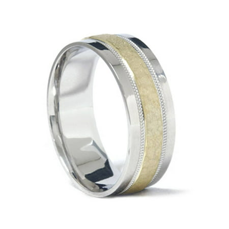 Mens 950 Platinum & 18K Gold Hammered Wedding Band (18k Gold Gents Ring)