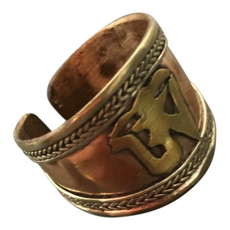 Tibetan Three Metal (Sanskrit Tibetan Om Ohm Three Metal Balance and Healing Copper Yoga Ring )