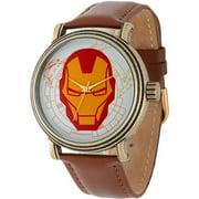 Marvel Iron Man Men's Vintage Gold Antique Alloy Case Watch, Brown Leather Strap