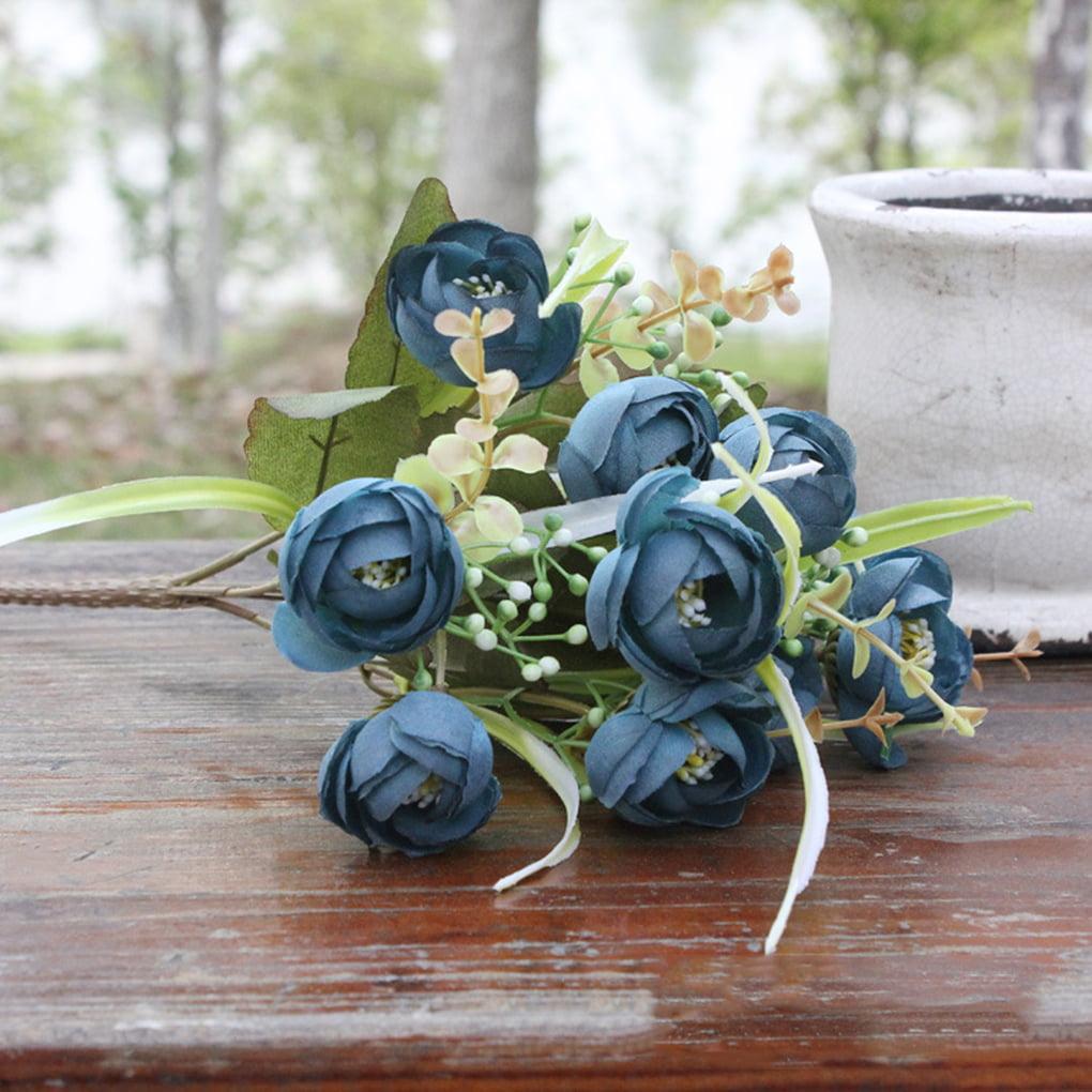 DIY Artificial Silk Craft Flowers Wiith 10 Flower Heads Artificial Silk Flowers Camellia Roses for Bouquets, Weddings, Wreaths, & Crafts