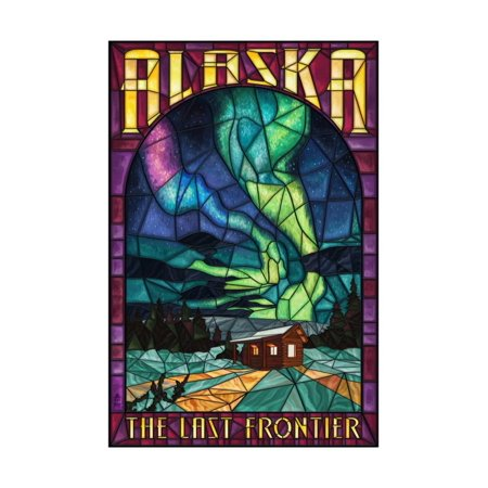 Alaska - Cabin and Northern Lights Stained Glass Print Wall Art By Lantern Press