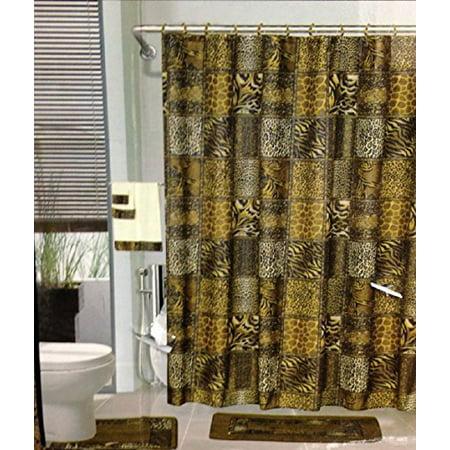 18pcs Bath Rug Set Leopard Brown Bathroom Rug Shower
