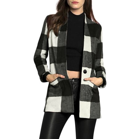 Women One-Button Placket Two Pockets Checked Coat White Black XS (US 2)