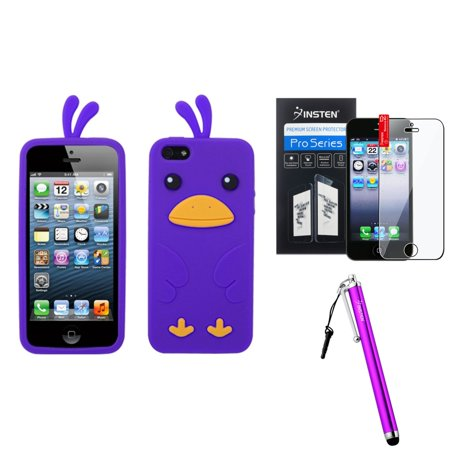 - Insten Electric Purple Chick Pastel Skin Case For iPhone 5S 5 + Stylus + Screen Guard