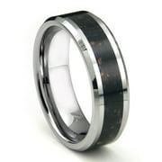 Titanium Kay Tungsten Carbide Black Lava Riverstone Inlay Comfort Fit Mens Wedding Band Ring Sz 10.0