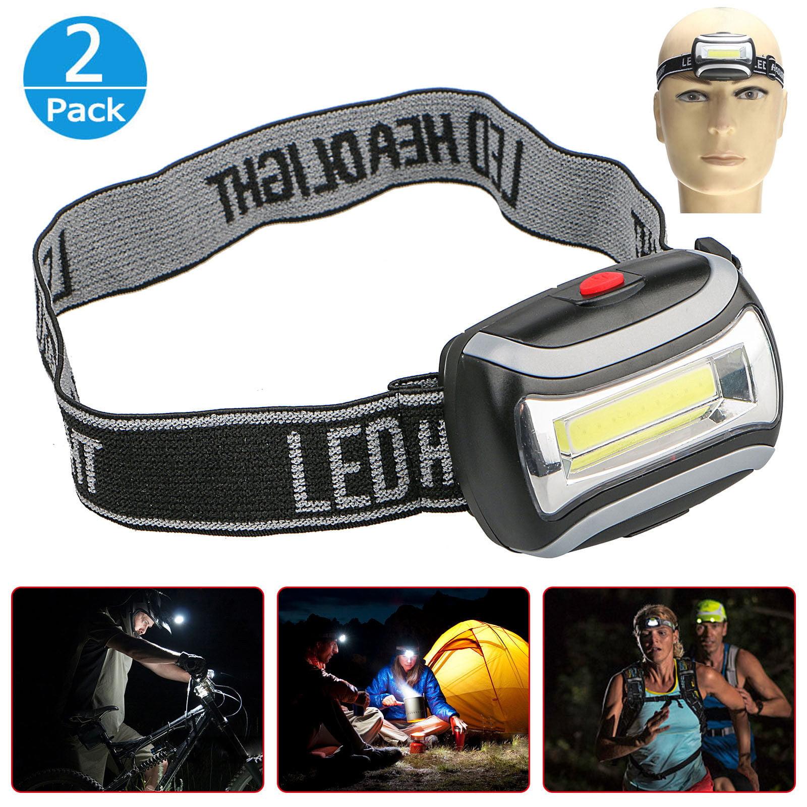 2-pack 5W 800LM 3-Mode COB Head Light LED Headlamp Flashlight for Camping Night Fishing