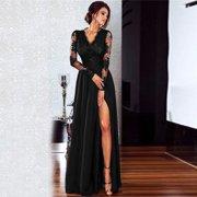 Women Lace Maxi Dress Deep V Neck Long Sleeve Side Split Slim Party Formal Long Dress Black