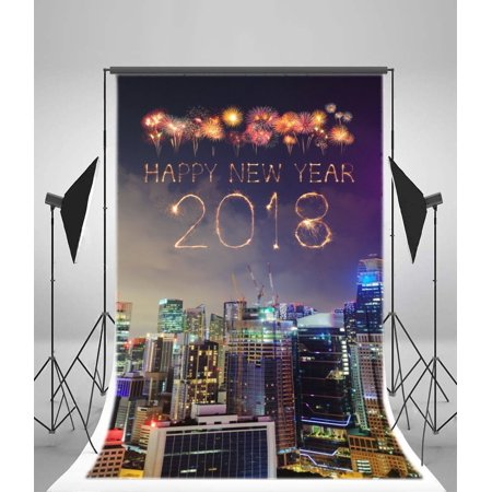 MOHome Polyster 5x7ft Happy New Year Backdrop Fireworks Skyscraper Shining Lights New York City Night View Blue Sky Christmas Photography Background Kids Adults Photo Studio Props