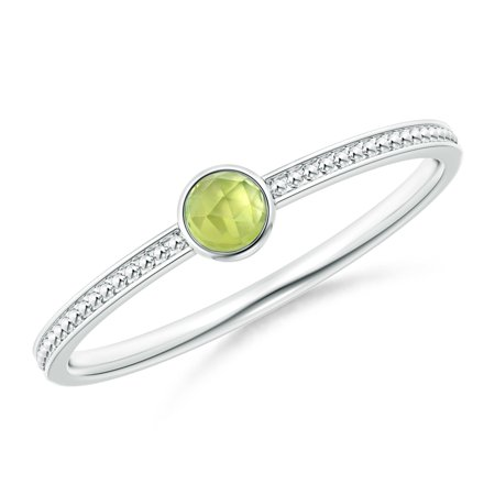 August Birthstone Ring - Bezel Set Peridot Ring with Beaded Groove Shank in Silver (3mm Peridot) - SR1866P-SL-AAA-3-6.5